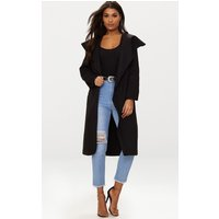 Veronica Black Oversized Waterfall Belt Coat, Black