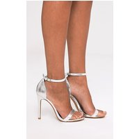 Clover Silver Metallic Strap Heeled Sandals, Silver