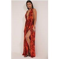 PrettyLittleThingAlina Orange Leopard Print Plunge Maxi Dress, Orange