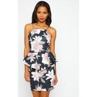 PrettyLittleThingMiri Floral Pleated Peplum Dress, Multi