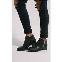 Black Croc Effect Low Ankle Boots, Black