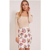 betty-cream-floral-bodycon-mini-skirt-cream