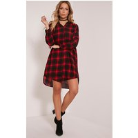 ronah-red-checked-shirt-dress-red