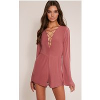 talma-rose-lace-up-slinky-playsuit-rose