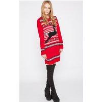 PrettyLittleThingDarina Red Reindeer Christmas Jumper Dress, Red