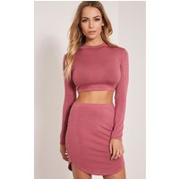 Ariana Rose Long Sleeve Crop Top, Rose