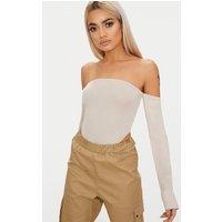 Stone Bardot High Leg Long Sleeve Thong Bodysuit, Stone