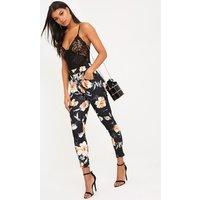 Sage Black Floral Print Trousers, Black
