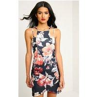 PrettyLittleThingAshleigh Coral Crepe Floral Print Curved Hem Mini Dress, Orange