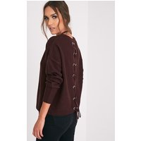 Alissa Berry Lace Up Back Knitted Jumper, Berry