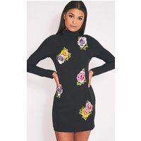 PrettyLittleThingMarlia Black Floral Embroidered High Neck Bodycon Dress, Black