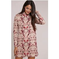 PrettyLittleThingLanie Burgundy Floral Print A-Line Dress, Red