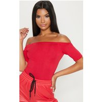 Basic Red Bardot Short Sleeve Bodysuit, Red