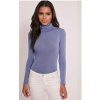 Basic Petrol Blue Long Sleeve Roll Neck Bodysuit, Petrol Blue