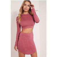 Ariana Rose Curved Hem Mini Skirt, Rose