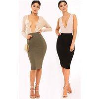 Basic Black & Khaki Jersey Midi Skirt 2 Pack, Multi