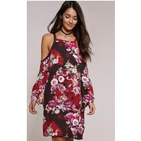 PrettyLittleThingJessa Black Floral Tunic Dress, Black