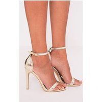 Clover Gold Metallic Strap Heeled Sandals, Gold