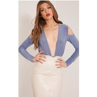 Sali Petrol Blue Cold Shoulder Bodysuit, Petrol Blue