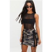 Khaki Camo Print Lace Up Front Mini Skirt, Khaki