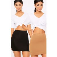 Basic Black & Camel Jersey Mini Skirt 2 Pack, Multi