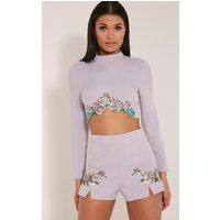 PrettyLittleThingAngie Grey Floral Embroidered Shorts, Grey