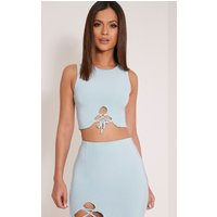 sky-blue-lace-up-slinky-crop-top-blue