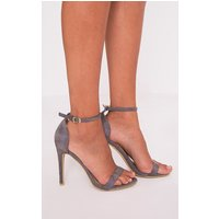 Clover Grey Faux Suede Strap Heeled Sandals, Grey