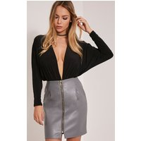 chandra-grey-faux-leather-zip-front-mini-skirt-grey
