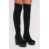 Teresa Black Cleated Platform Over the Knee Boot, Black