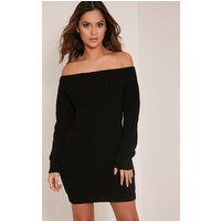 larissa-black-off-the-shoulder-knitted-dress-black