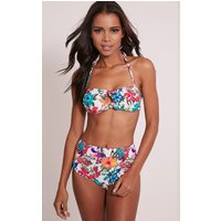 Mari Multi Floral Print High Waisted Bikini, Multi