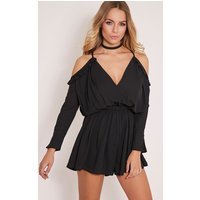 Amethyst Black Chiffon Tie Back Playsuit, Black