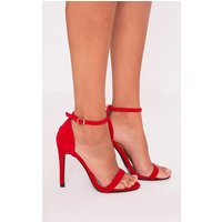 Clover Red Strap Heeled Sandals, Red