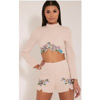 angie-nude-floral-embroidered-shorts-nude