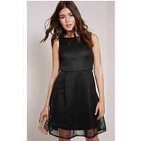 PrettyLittleThingLovette Black Fishnet Party Dress, Black