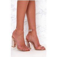 Rose Gold Clear Strap Ornate Heels, Rose Gold