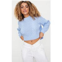 Dusty Blue Cable Crop Jumper, Dusty Blue