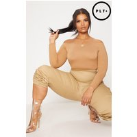 Plus Nude Basic Bardot Bodysuit, Camel