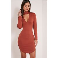 arianna-tobacco-crepe-choker-detail-bodycon-dress-tobacco