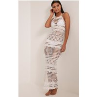 Alaya White Crochet Maxi Dress, White