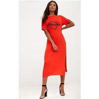 PrettyLittleThingOrange After Party Midaxi T Shirt Dress, Orange