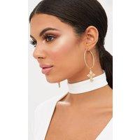 Gold Hoop Cross Diamante Earrings, Gold