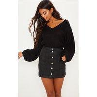 Black Coated Denim Button Down Mini Skirt