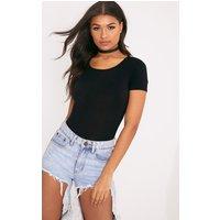 Basic Black Short Sleeve Bodysuit, Black