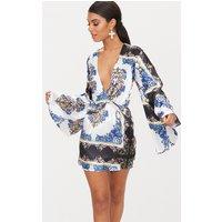 Blue Scarf Print Kimono Sleeve Plunge Shift Dress