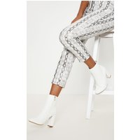 Behati White Faux Leather Ankle Boot