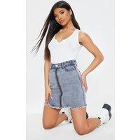 Acid Grey Zip Front Denim Skirt