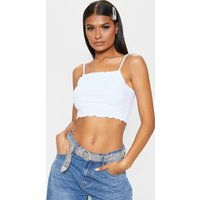 Basic White Rib Strappy Frill Hem Cami Top