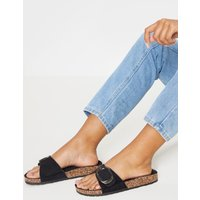 Black Buckle Detail Mule Sandal
